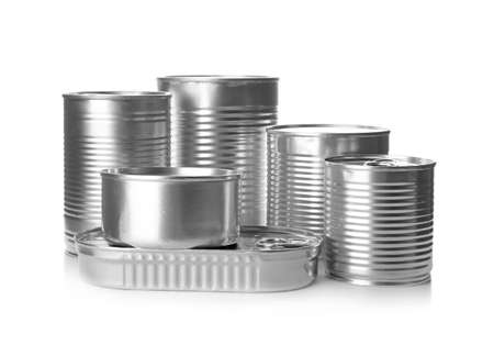 Mockup of tin cans with food on white background Banco de Imagens