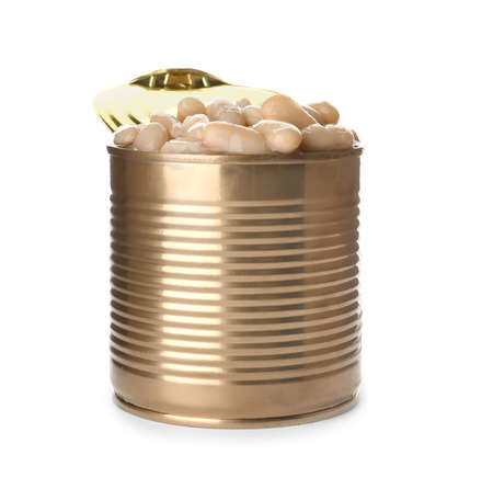 Tin can with conserved beans on white background Banco de Imagens