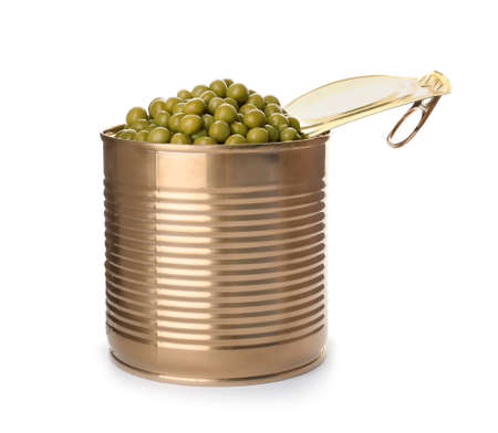 Tin can with conserved peas on white background