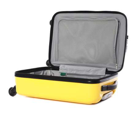 Open bright yellow suitcase on white background Stockfoto