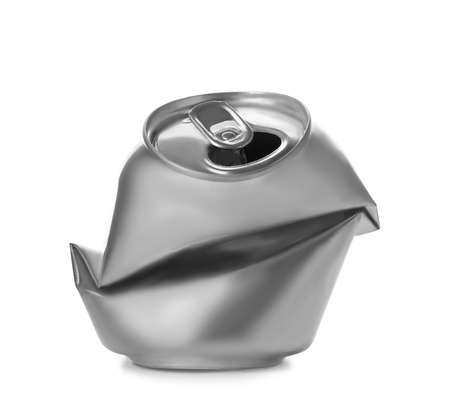 Empty crumpled aluminum can on white background. Metal waste recycling Stock Photo