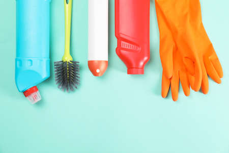 Set of cleaning supplies on color background Stok Fotoğraf - 106162069