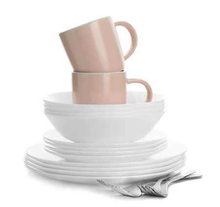 Different clean tableware on white background Reklamní fotografie