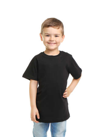 Little boy in t-shirt on white background. Mockup for design