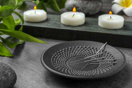 Plate with acupuncture needles on table