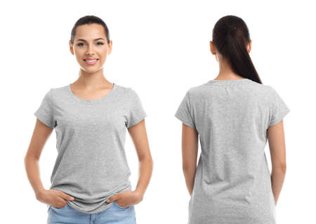 Front and back views of young woman in grey t-shirt on white background. Mockup for design