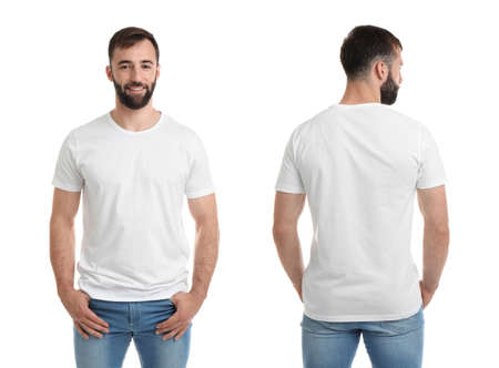 Front and back views of young man in blank t-shirt on white background. Mockup for design Stock Photo