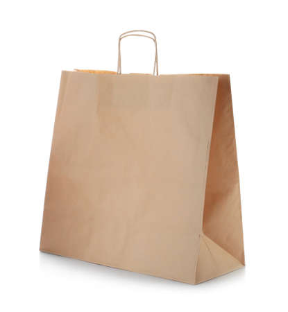 Mockup of paper shopping bag on white background