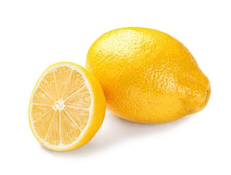Ripe whole and sliced lemons on white background Stock Photo