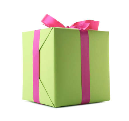 Beautiful gift box with ribbon on white background
