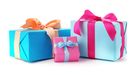 Beautiful gift boxes with ribbons on white background Stock Photo