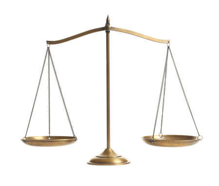 Scales of justice on white background. Law concept