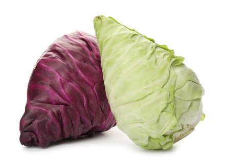Pointed fresh cabbages on white background. Healthy food
