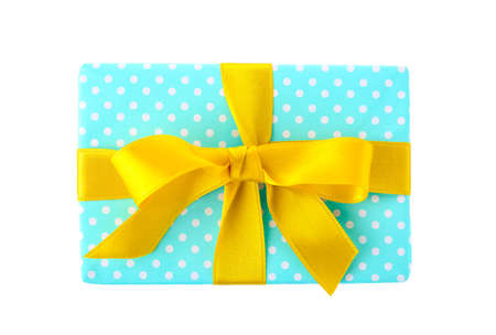 Gift box with ribbon on white background, top view