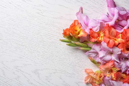 Beautiful gladiolus flowers on light wooden background Stock fotó - 106484608
