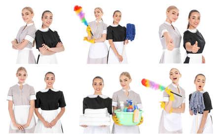 Sertie de femmes de chambre et de produits de nettoyage sur fond blanc Banque d'images