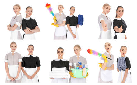 Set with chambermaids and cleaning supplies on white background Stock Photo
