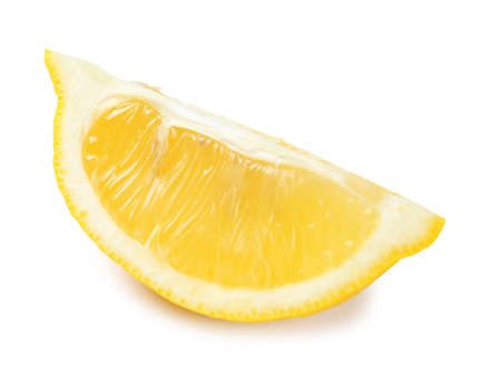 Slice of ripe lemon on white background