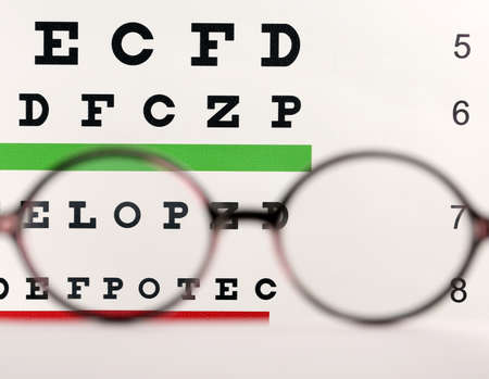 Blurred glasses with corrective lenses on table against eye chart Imagens