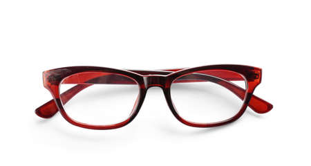 Glasses with corrective lenses on white background. Vision problem Stock Photo