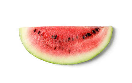 Slice of ripe watermelon on white background, top view 版權商用圖片