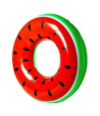 Bright inflatable ring on white background. Summer holidays