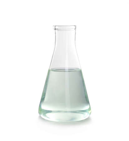 Conical flask with liquid on white background. Laboratory analysis