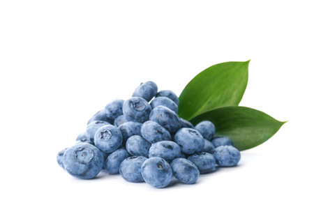 Heap of fresh ripe blueberries on white background