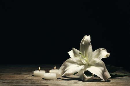 Hermoso lirio y velas encendidas sobre fondo oscuro con espacio para texto. Flor funeraria Foto de archivo