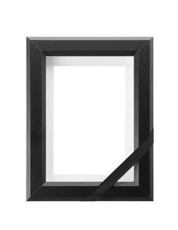Funeral photo frame with black ribbon on white background Stock Photo