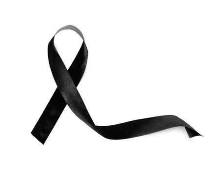 Black ribbon on white background. Funeral accessory