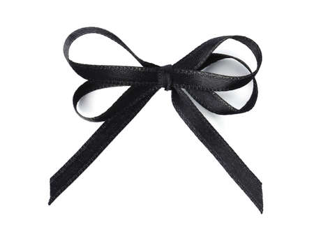 Black bow on white background, top view. Funeral symbol