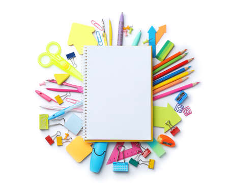 Composition with different school stationery and notebook on white background