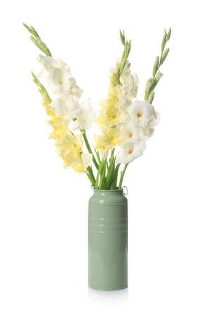 Vase with beautiful gladiolus flowers on white background Stock fotó
