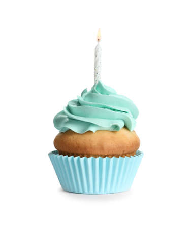 Delicious birthday cupcake with candle on white background