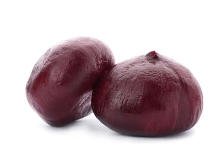 Boiled beets on white background. Taproot vegetable Stock Photo