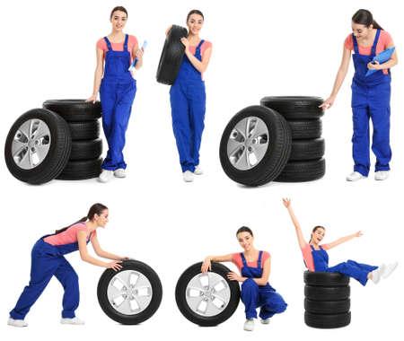 Set with professional mechanic and car tires on white background Zdjęcie Seryjne