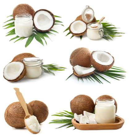 Con aceite de coco sobre fondo blanco.