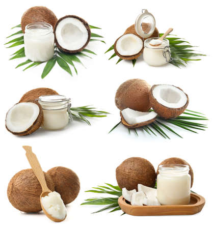 Set with coconut oil on white background 免版税图像