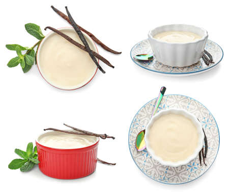 Set with vanilla pods and puddings on white background