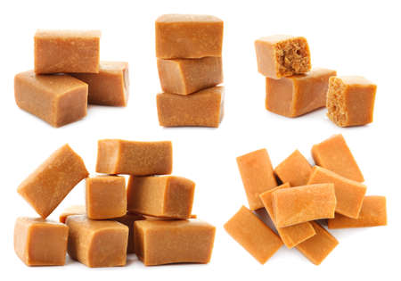 Set with delicious caramel candies on white background