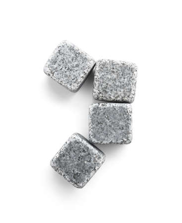 Whiskey stones on white background, top view 写真素材