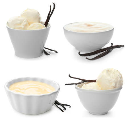 Set with vanilla pods, ice cream and puddings on white background Standard-Bild