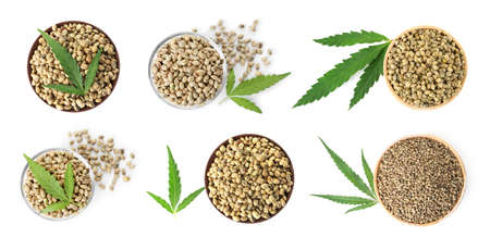 Set with hemp seeds on white background, top view. Organic superfood Stock Photo