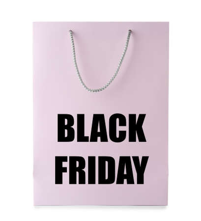 Shopping bag with text BLACK FRIDAY on white background. Sale and special offer