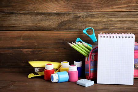 Different stationery on wooden table. Back to school