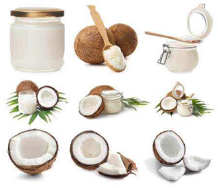set con aceite de coco sobre fondo blanco Foto de archivo