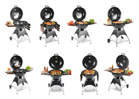 Set with modern barbecue grill and tasty food on white background
