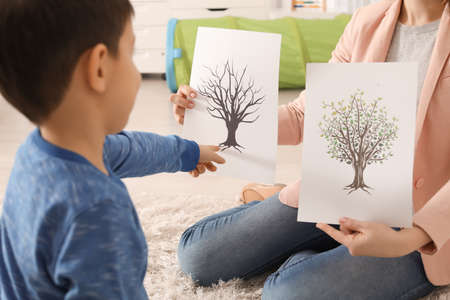 Psychologist showing pictures to little boy with autistic disorder
