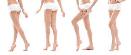 Stellen Sie mit der jungen Frau auf weißem Hintergrund ein. Schönheits- und Körperpflege Standard-Bild